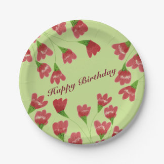 Raspberry Flowered Paper Plates 7 Inch Paper Plate