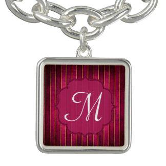 Raspberry Gold Stripe Modern Hot Monogram Bracelet