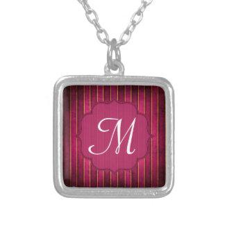 Raspberry Gold Stripe Modern Hot Monogram Necklace