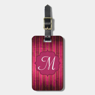Raspberry Gold Stripe Modern Monogram Luggage Tag
