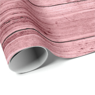 Raspberry Grain Rustic Rose Pastel Pink Wood Wrapping Paper