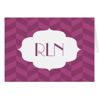 Raspberry Herringbone Monogram Card