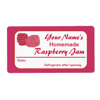 Raspberry Jam Personalized Preserve Label for Jars Custom Shipping Label