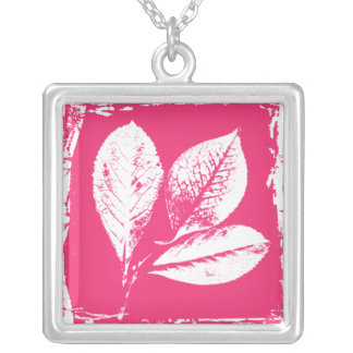 Raspberry Leaves Woodcut in Pink and White Custom Necklace
