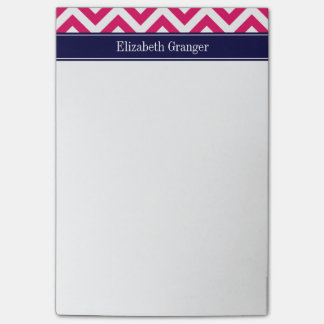 Raspberry Lg Chevron Navy Blue Name Monogram Post-it Notes