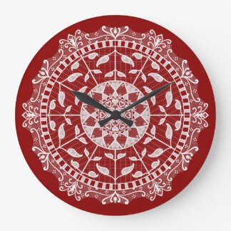 Raspberry Mandala Large Clock