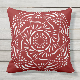 Raspberry Mandala Outdoor Pillow