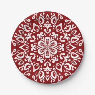 Raspberry Mandala Paper Plate