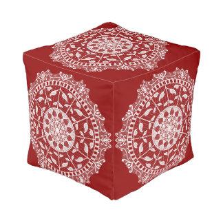 Raspberry Mandala Pouf