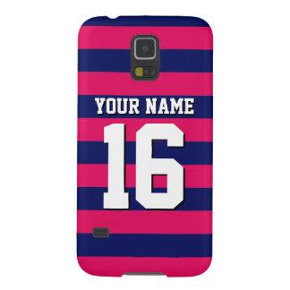 Raspberry Navy Blue Sports Jersey Preppy Stripe Cases For Galaxy S5