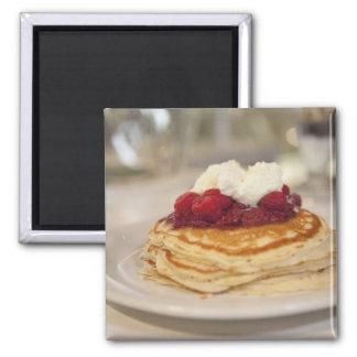 Raspberry pancakes square magnet