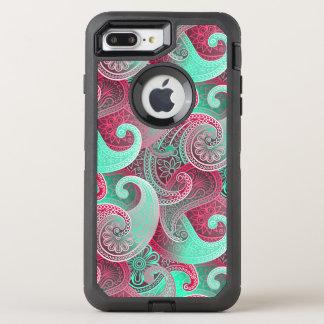 Raspberry Pink and Aqua Paisley Damask Pattern OtterBox Defender iPhone 8 Plus/7 Plus Case