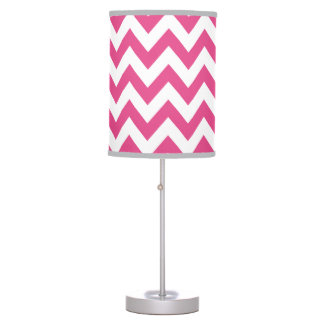 Raspberry Pink Chevron Lamp