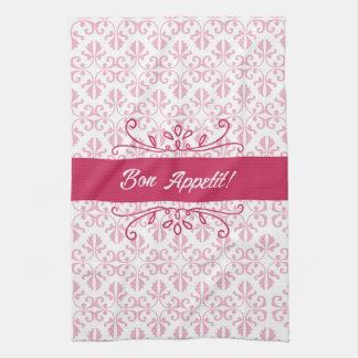 Raspberry pink damask bon appetit tea kitchen towel