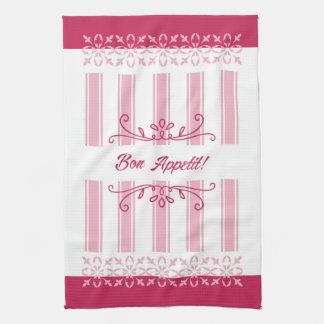 Raspberry pink damask french inspired bon appetit kitchen towel