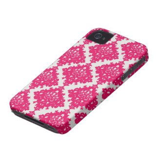 raspberry pink diamond damask on white iPhone 4 cover