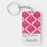 raspberry pink diamond damask on white acrylic key chain