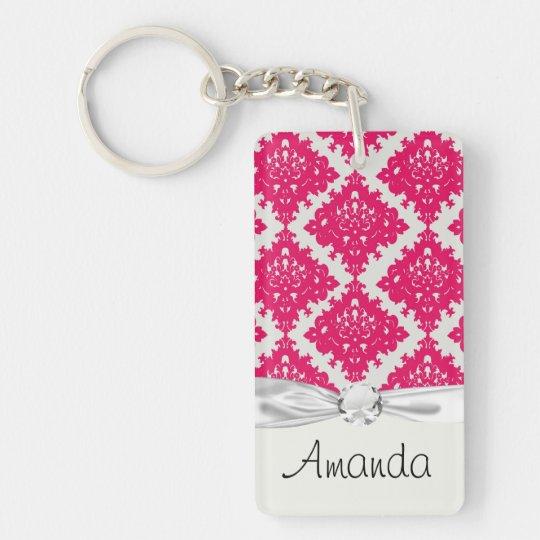 raspberry pink diamond damask on white keychain