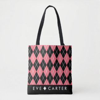 Raspberry Pink Geometric Diamond Print Tote Bag