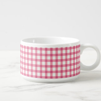 Raspberry Pink Gingham Check Pattern Bowl