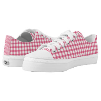 Raspberry Pink Gingham Check Pattern Low-Top Sneakers