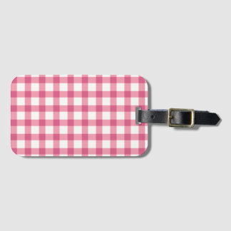 Raspberry Pink Gingham Check Pattern Luggage Tag