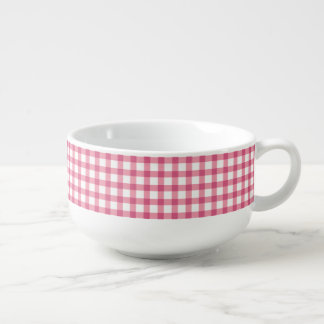 Raspberry Pink Gingham Check Pattern Soup Bowl With Handle