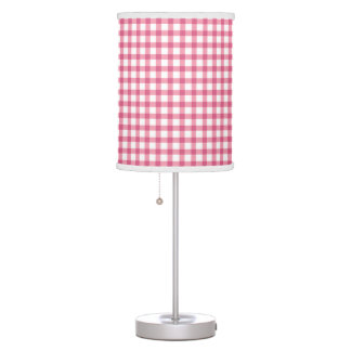 Raspberry Pink Gingham Check Pattern Table Lamp