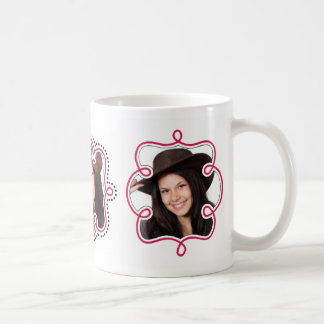 Raspberry Pink Girly Doodle Frames for 3 Photos Classic White Coffee Mug