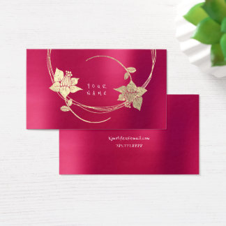 Raspberry Pink Gold Rose Pink Blush Pearly Floral Business Card