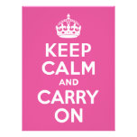 Raspberry Pink Keep Calm and Carry On Custom Invitation
