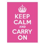 Raspberry Pink Keep Calm and Carry On Postcard