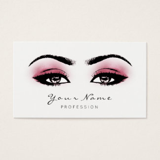Raspberry Pink Makeup Lashes Extension Black White Business Card