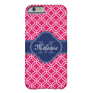 Raspberry Pink Wht Moroccan Pattern Navy Monogram Barely There iPhone 6 Case