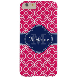 Raspberry Pink Wht Moroccan Pattern Navy Monogram Barely There iPhone 6 Plus Case
