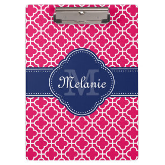 Raspberry Pink Wht Moroccan Pattern Navy Monogram Clipboard