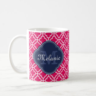 Raspberry Pink Wht Moroccan Pattern Navy Monogram Coffee Mug