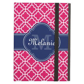 Raspberry Pink Wht Moroccan Pattern Navy Monogram Cover For iPad Air