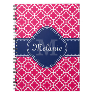 Raspberry Pink Wht Moroccan Pattern Navy Monogram Notebooks