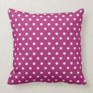 Raspberry Polka Dot Pattern Throw Pillow
