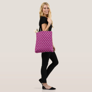 Raspberry Polka Dot Pattern Tote Bag