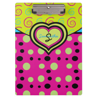 Raspberry Polka Dots and Swirls Custom Clipboard