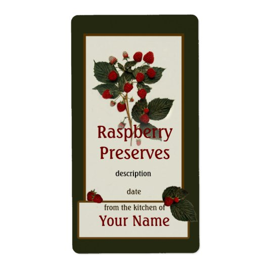 Raspberry Preserves Canning Label