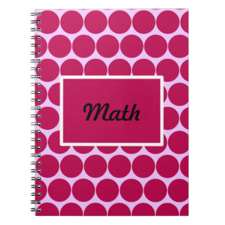 Raspberry Red Circles and Rectangle Notebook