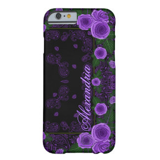 Raspberry Roses & Paisley Bandana Name Template Barely There iPhone 6 Case