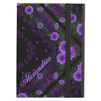 Raspberry Roses & Paisley Bandana Name Template Cover For iPad Air