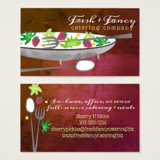 Raspberry salad bowl chef catering business card