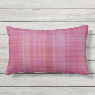 Raspberry Sherbet Plaid Outdoor Lumbar Pillow