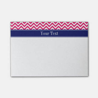 Raspberry SLg Chevron Navy Name Monogram Post-it Notes