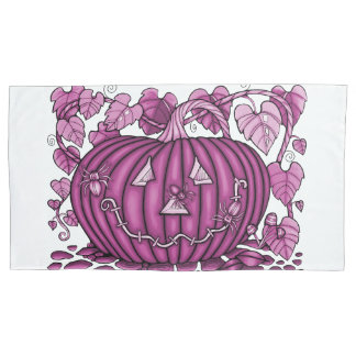 Raspberry Spidery Pumpkin Pillowcase